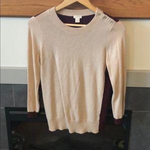 J Crew tan burgundy merino wool sweater